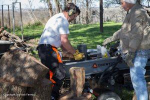Scurlock Farms Vacation Rentals Splitting Firewood Georgetown TX